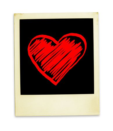 Forever Love (Old With Hand Drawn Valentine Heart ( clipping path for easy background removing if needed) photo