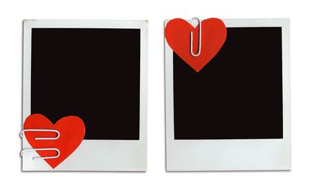 attached: 2 Valentine Cards ( Photo Frames With Attached Paper Hearts ( clipping path for easy background removing and framing your pictures if needed)