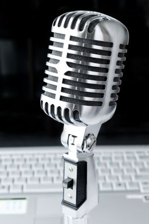 shure: At Business Conference (Microphone Against Laptop) Stock Photo