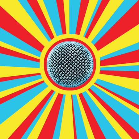 Disco Mic-5. The Microphone Head Against Disco Background (Ideal for CD-cover) photo