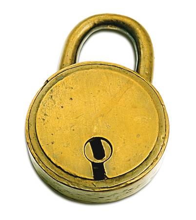 Lock Isolated Over White (+clipping path for easy background removing if needed) photo