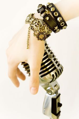 Elvis In Me (Singers Hand With Retro Microphone) Stock Photo