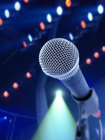 Tonight Show (Microphone On Stage Against Soffit Lights) photo