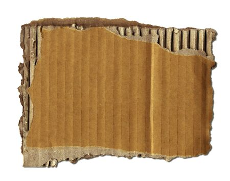 Old Cardboard Scrap Over White (+clipping path for easy background removing if needed) Stock Photo