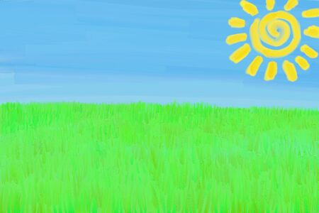 Childs Drawing Landscape (digital painting with paint texture)