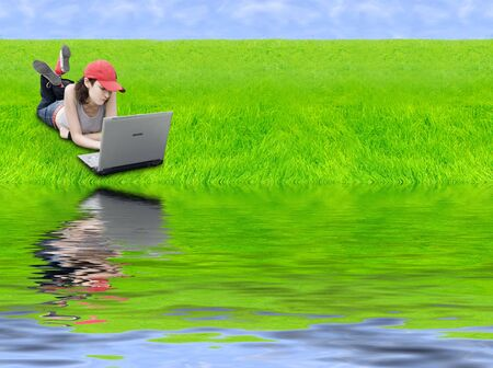 Digital Generation (Teen With Laptop In Digital Landscape) photo