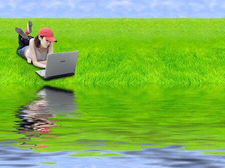 Digital Generation (Teen With Laptop In Digital Landscape) photo