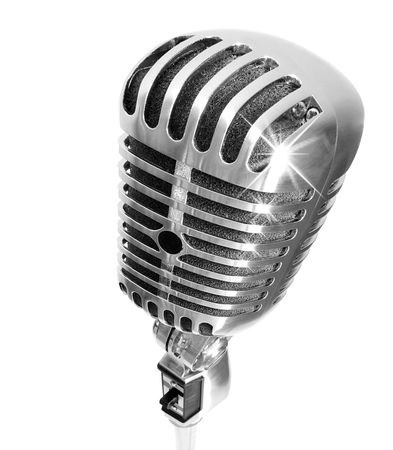 Retro Glamour (Microphone With Light Glints (+clipping path for easy background removing if needed) Stock Photo