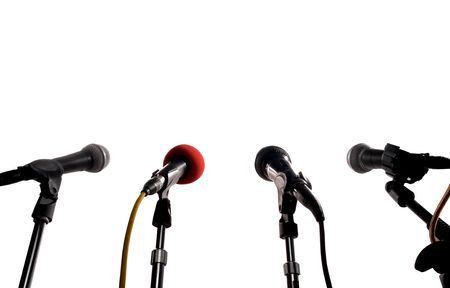 Press Conference (Row Of Microphones Waiting For A Speaker) photo