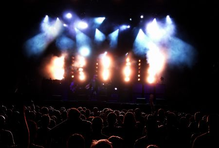 Concert Audience (People Silhouettes Against Lit Stage At The Rock Concert) Stock Photo - 1142882