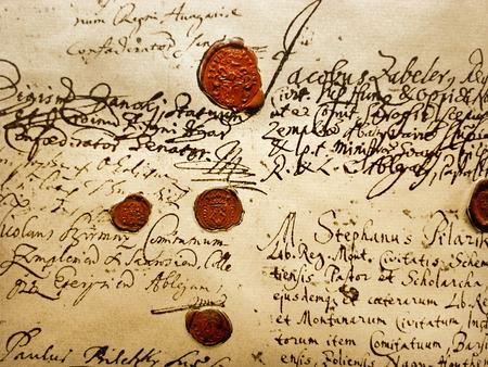 Ancient Manuscript (Fragment Of The Real Ancient (A.D.1707) Manuscript With Red Wax Seals)