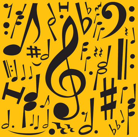 conducting: Music Notes (editable vector + jpeg) Illustration