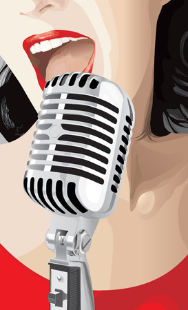 Pop Singer (editable vector or jpeg image) Illustration