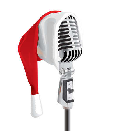 vintage mic: Christmas Song (editable vector or XXL jpeg image)