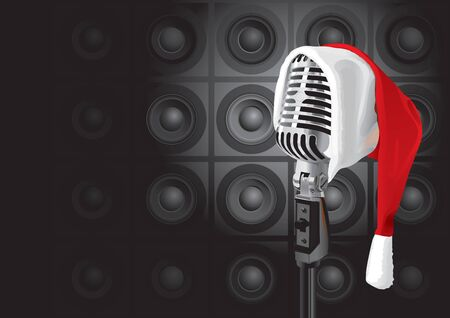 old microphone: Christmas Music Event (vector or XXL jpeg image)