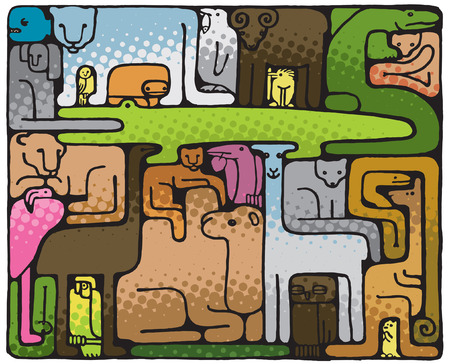 Animal Puzzle (vector or XXL jpeg image) Illustration
