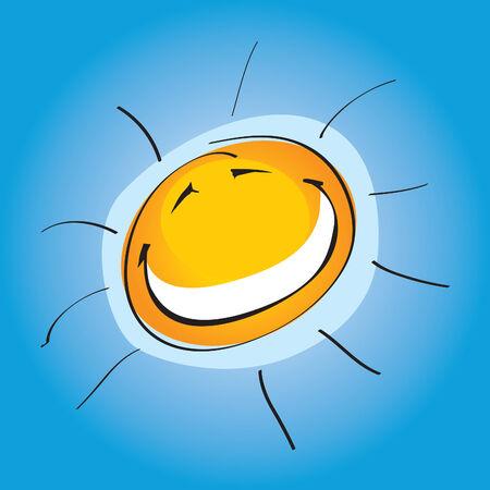 soleil rigolo: Ensoleill� Smiley (vecteur ou XXL image jpeg)  Illustration