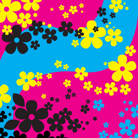 Abstract Flowers Background In Modern Colors (vector or XXL jpeg image) Illustration