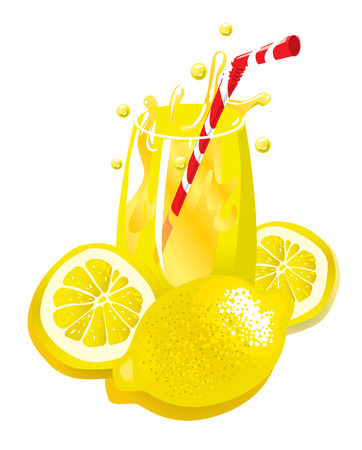 colorful straw: Lemonade (vector or XXL jpeg image)