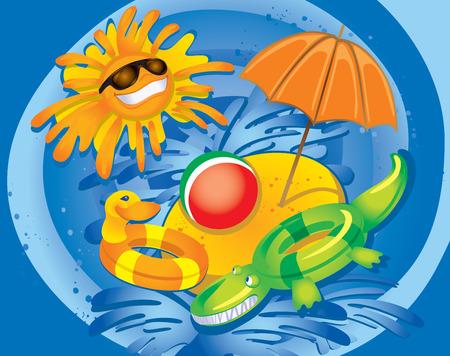 splash pool: Summer Fun (illustration) Illustration