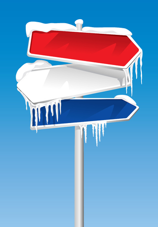 Frozen Signpost With Snow And Icicles On It Illustration