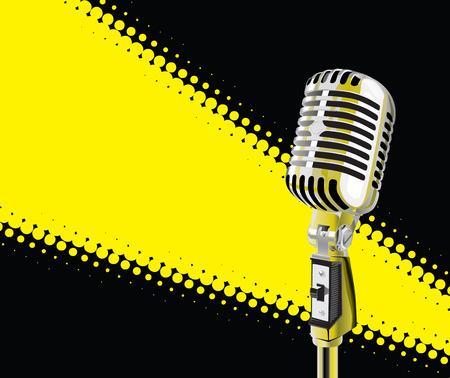 Microphone In Spotlight (vector + XXL jpeg image) Illustration