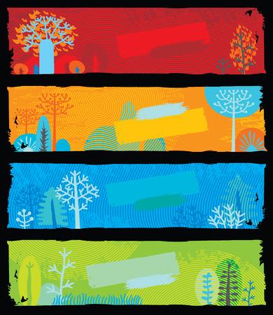 seasons: Natuur Banners (elke banner is schaalbaar naar de standart internet banner formaat 160x600 pix)