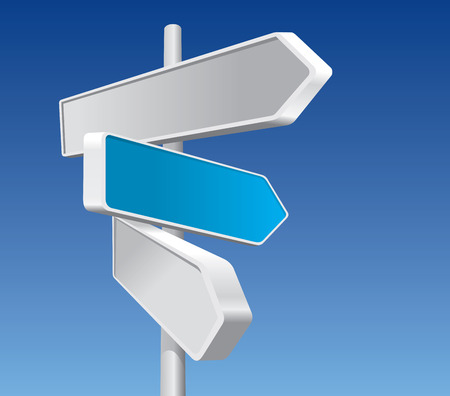 three objects: Directional Signs In Business Colors