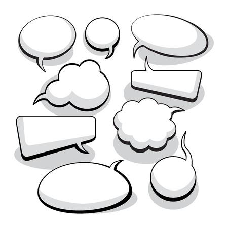 burbujas de pensamiento: Expresi�n y de pensamiento Burbujas con espacio para texto Vectores