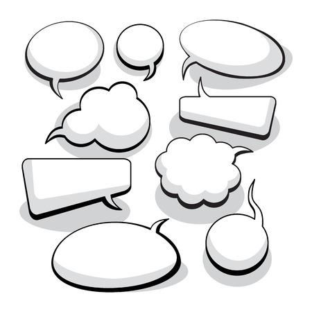 thinking icon: Speech And Thought Bubbles With Space For Text