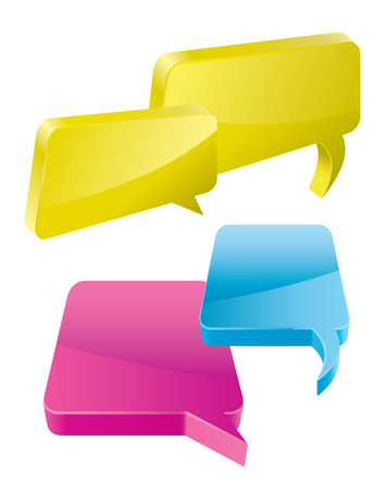 3D Speech And Thought Bubbles With Space For Text Vector