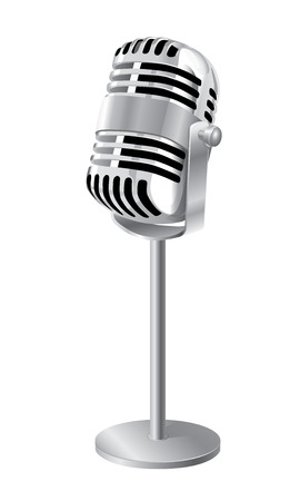 Retro Microphone On Stand Isolated Over White