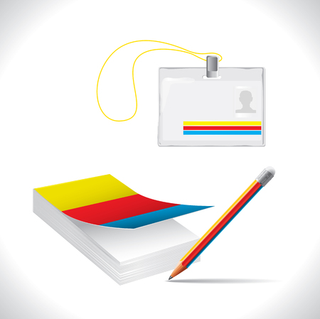 Office Supplies (notebook, pencil, name tag with space for your text) Vector