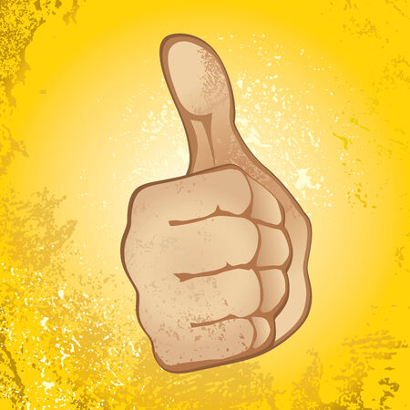 approvement: Thumb Up Gesture (Expressing Satisfaction, Approvement, Success) Illustration