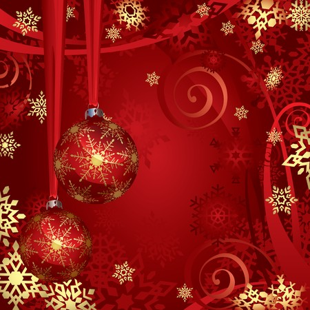 Red And Golden Christmas Baubles And Snowflakes Background Vector