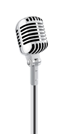 rueda de prensa: Micr�fono retro en el Stand Aislado Sobre Blanco