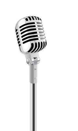 mic: Retro Microphone stand isolato Over White