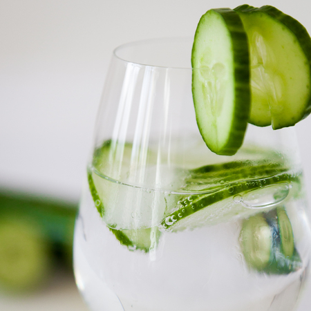 sparkling water: Sparkling water with slices of cucumber