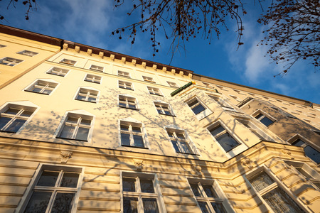 renovate old building facade: Facades of urban turn-of-the-century apartment buildings