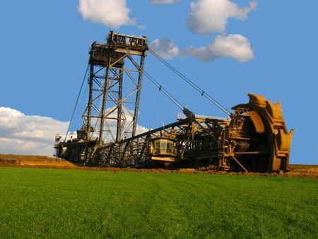 steelwork: bucket wheel excavator in a brown coal open mining Stock Photo