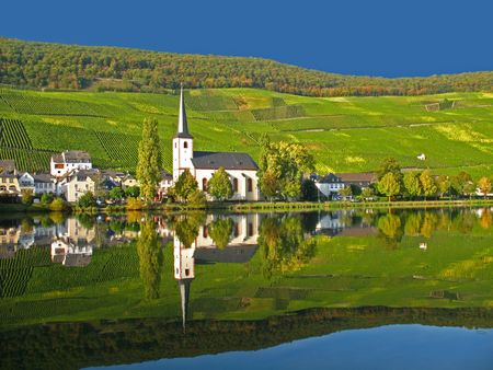 Wine village Alt-Piesport at the Moselle in Germany photo