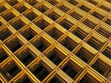 solidity: Pile of reinforcing mats on a building site Stock Photo