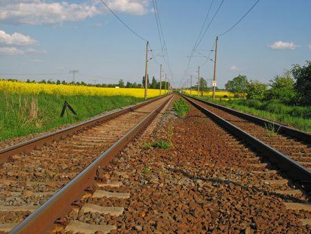 sleepers: Railway line Stock Photo