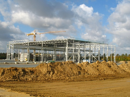 cloud industry: Construction of a factory building Stock Photo