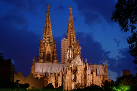 curch: Cologne Cathedral in Cologne, Germany at night                     Stock Photo