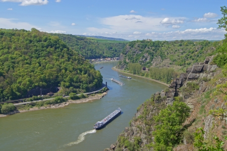 inland waterways: The Rhine at the Loreley in Germany