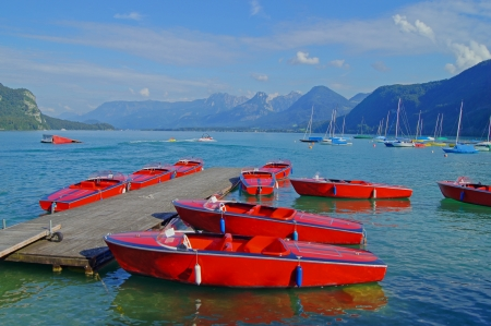 Boats on a lake in Austria Stock Photo - 16853534