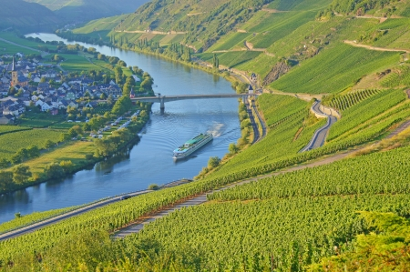 viniculture: River cruise ship on the Moselle in Germany Stock Photo