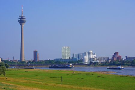 inland waterways: TV tower and the Media Harbour in Dusseldorf, Germany