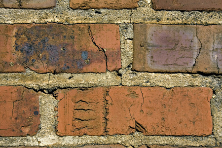 Closeup of old red cracked bricks  photo